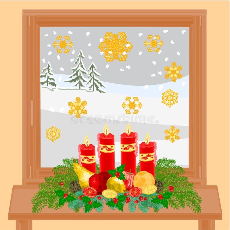 Bożenarodzeniowy dekoraci zimy okno i adwentu wianek wektor ilustracja wektor