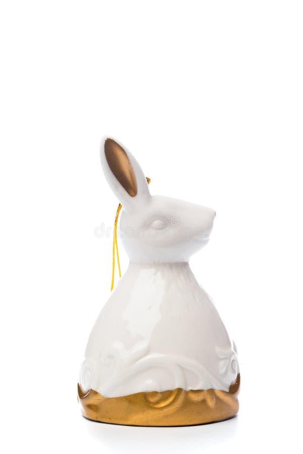 Bożenarodzeniowy dekoracja królika dzwon na odosobnionym bielu zdjęcia royalty free