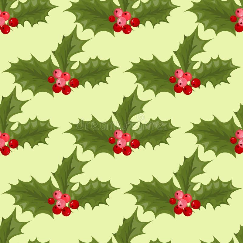 Bożenarodzeniowy dekoracyjny liścia holly rozgałęzia się z zim czerwonych jagod rośliny bezszwowym deseniowym wiecznozielonym kwi royalty ilustracja