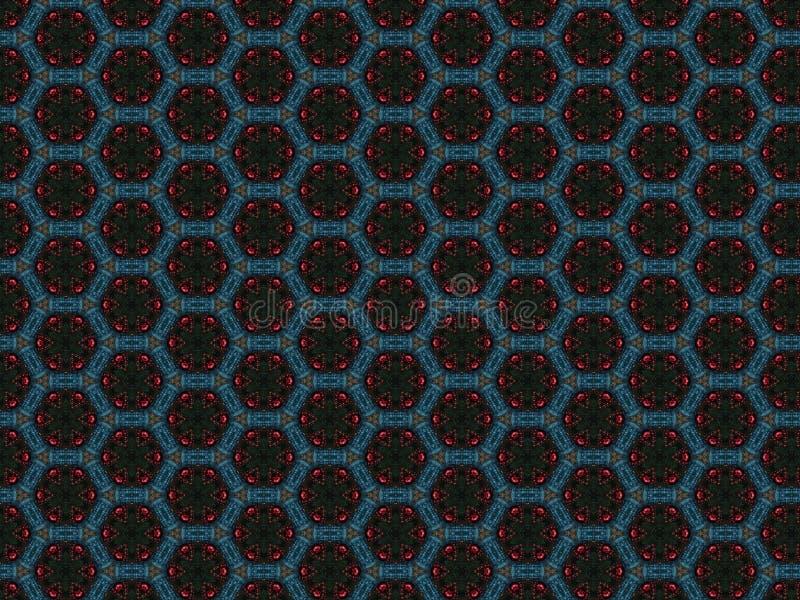 Bożenarodzeniowy dekoracyjny tło z i błękitnymi koralikami sukiennymi, czerwonymi i zieleni gwiazdą ilustracja wektor