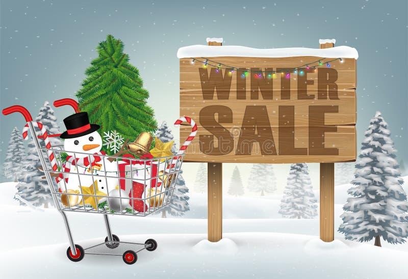 Bożenarodzeniowy dekoracyjny wózek na zakupy na zimy wzgórzu ilustracji