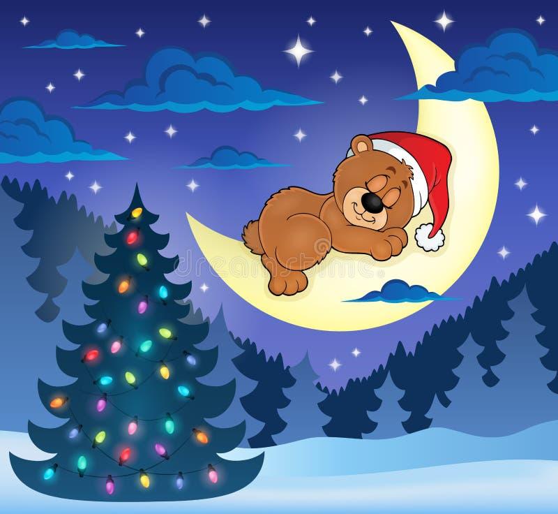 Bożenarodzeniowy dosypianie niedźwiedzia tematu wizerunek 1 ilustracji