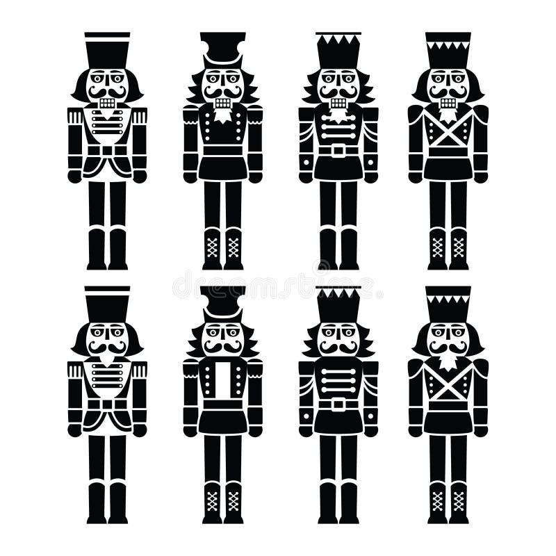 Bożenarodzeniowy dziadek do orzechów - żołnierz figurki czerni ikony ustawiać royalty ilustracja