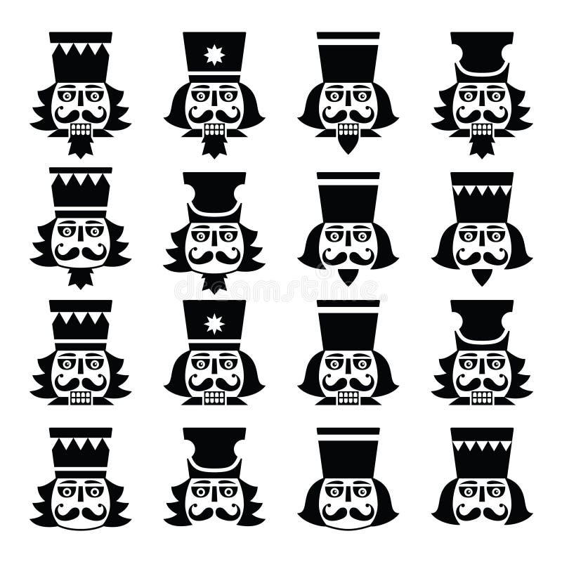 Bożenarodzeniowy dziadek do orzechów - żołnierz figurki głowy czerni ikony ustawiać royalty ilustracja