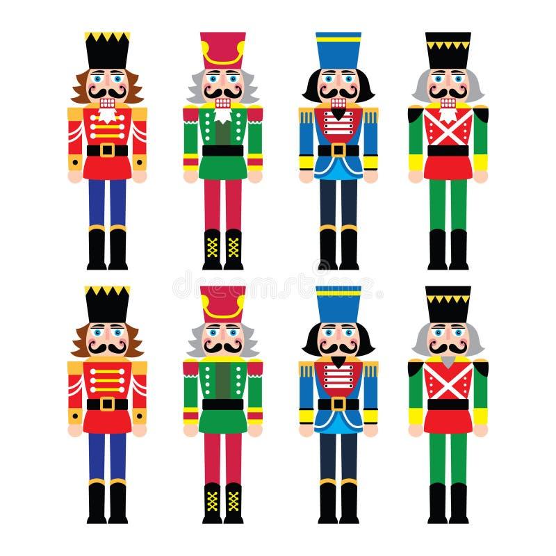 Bożenarodzeniowy dziadek do orzechów - żołnierz figurki ikony ustawiać ilustracja wektor