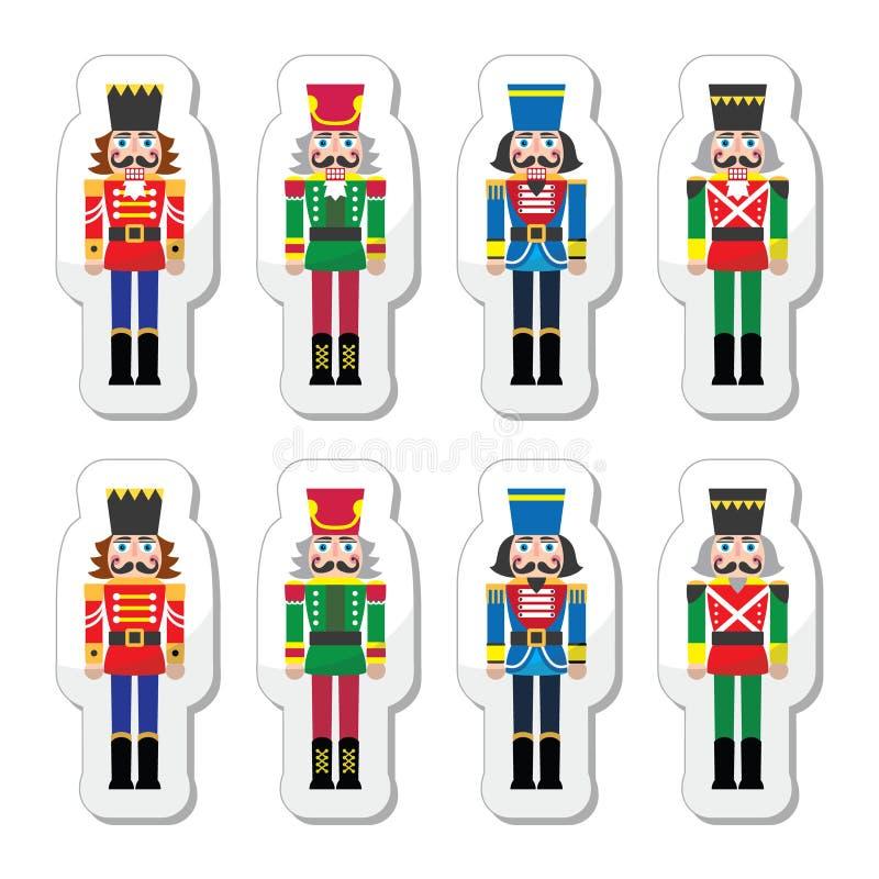 Bożenarodzeniowy dziadek do orzechów - żołnierz figurki ikony ustawiać ilustracji
