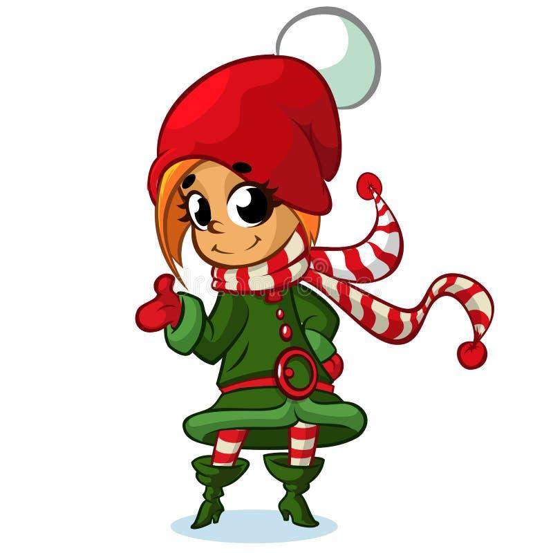 Bożenarodzeniowy dziewczyna elfa charakter w Santa kapeluszu również zwrócić corel ilustracji wektora ilustracja wektor