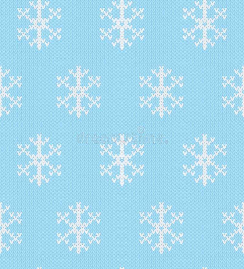 Bożenarodzeniowy dziewiarski bezszwowy wzór z płatek śniegu w błękitnych i bielu kolorach ilustracji