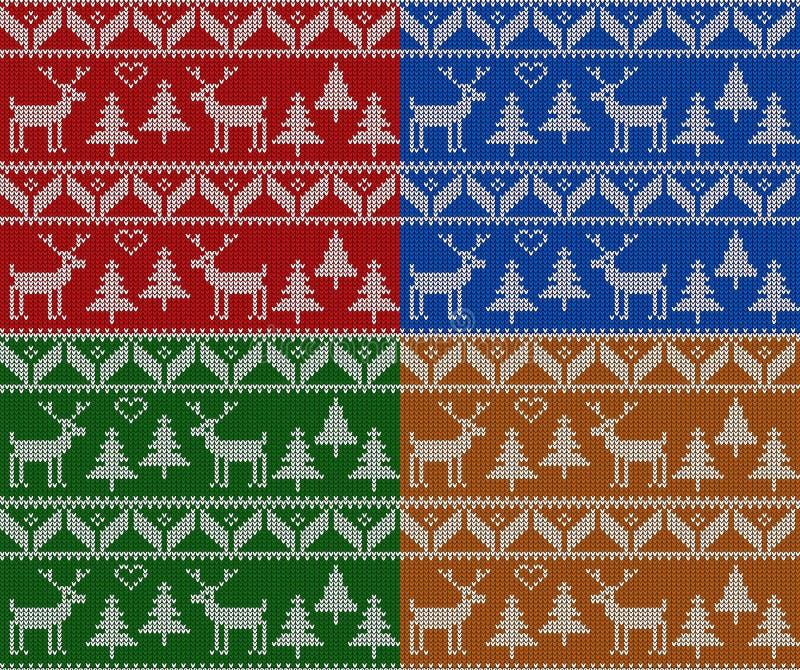 Bożenarodzeniowy dziewiarski bezszwowy wzoru set Nowy Rok, boże narodzenia i zima wektoru tło, ilustracji