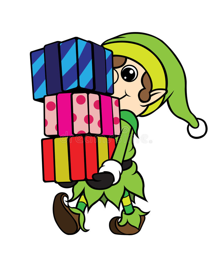 Bożenarodzeniowy elf chłopiec przewożenia stos prezent obraz stock
