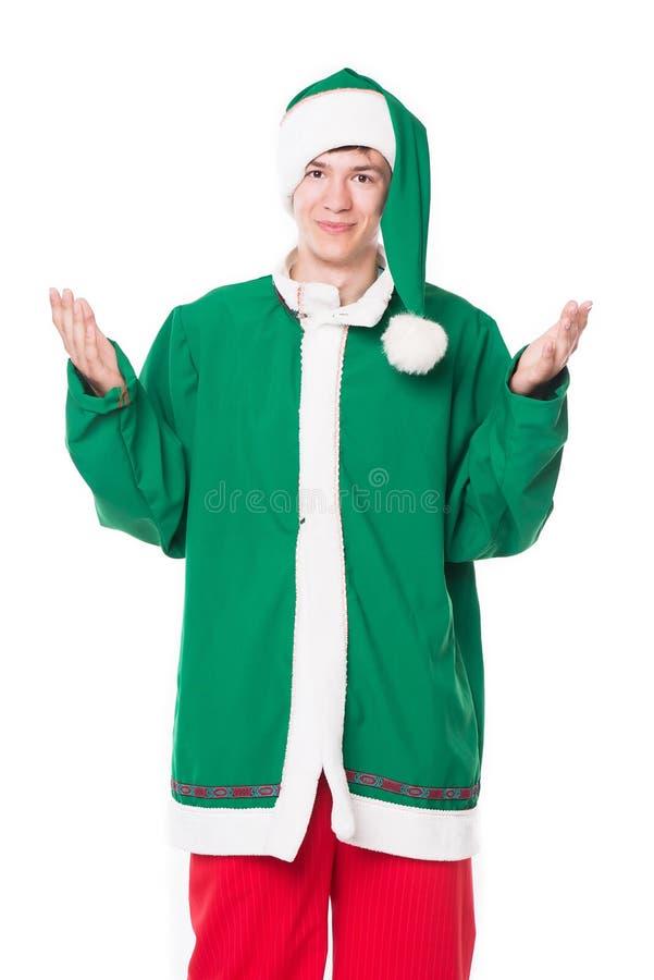Bożenarodzeniowy elf, odizolowywający na białym tle zdjęcia stock