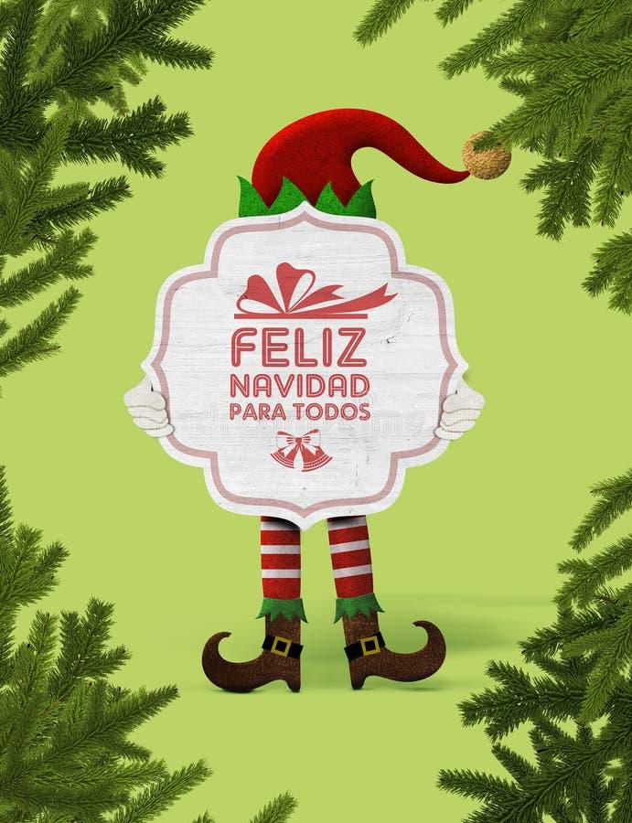 Bożenarodzeniowy elf z znakiem Ty możesz czytać Wesoło boże narodzenia dla wszystko obrazy royalty free