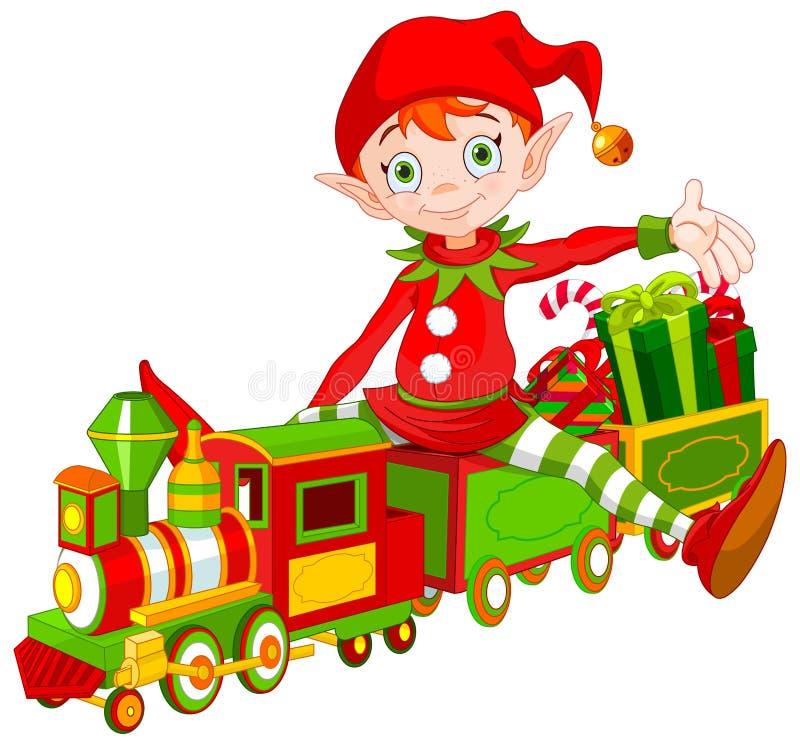 Bożenarodzeniowy elfa i zabawki pociąg ilustracja wektor