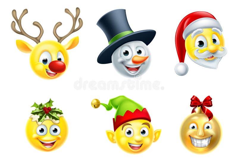 Bożenarodzeniowy Emoji set royalty ilustracja