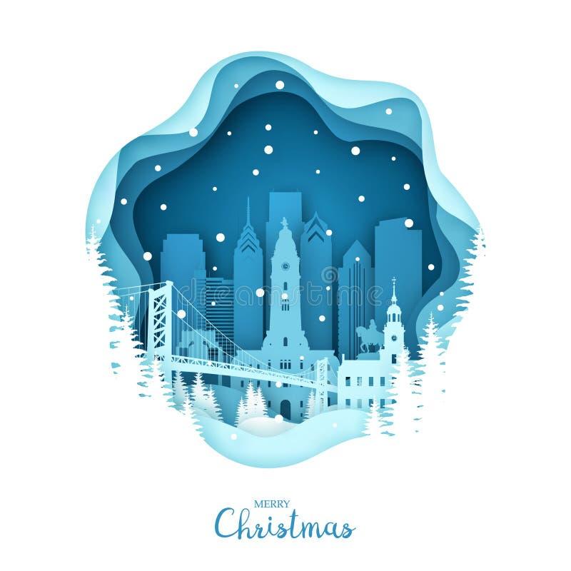 Bożenarodzeniowy Filadelfia w śniegu Papierowy miasto styl ilustracja wektor