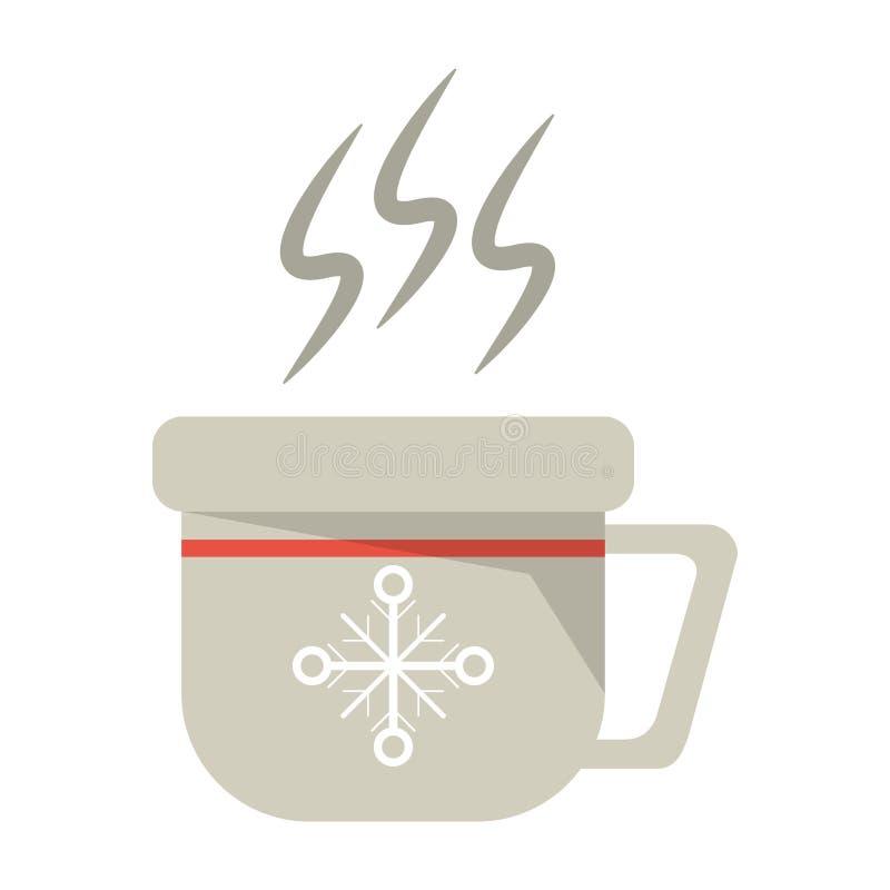 Bożenarodzeniowy gorący kawowy kubek royalty ilustracja