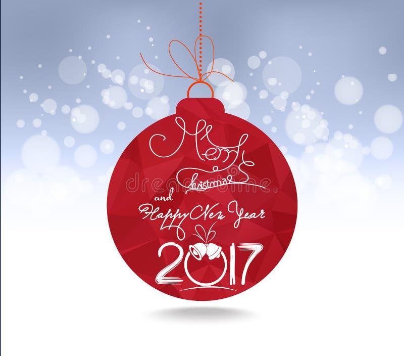 Bożenarodzeniowy i szczęśliwy 2017 nowego roku piłek czerwony geometrical kartka z pozdrowieniami ilustracja wektor