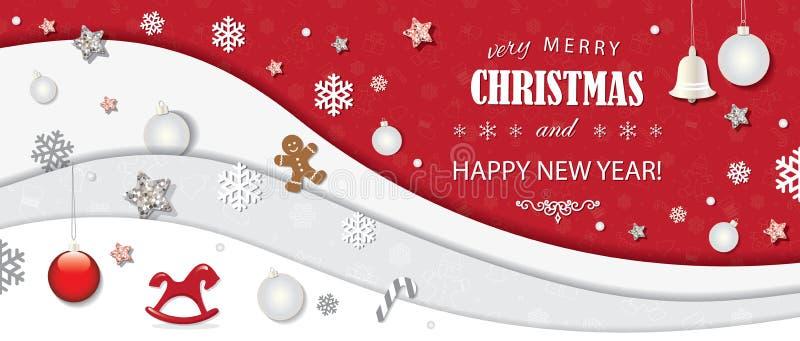 Bożenarodzeniowy i szczęśliwy nowy rok zimy tło 3d papieru wycinanki warstwy z dekoracyjnymi elementami royalty ilustracja