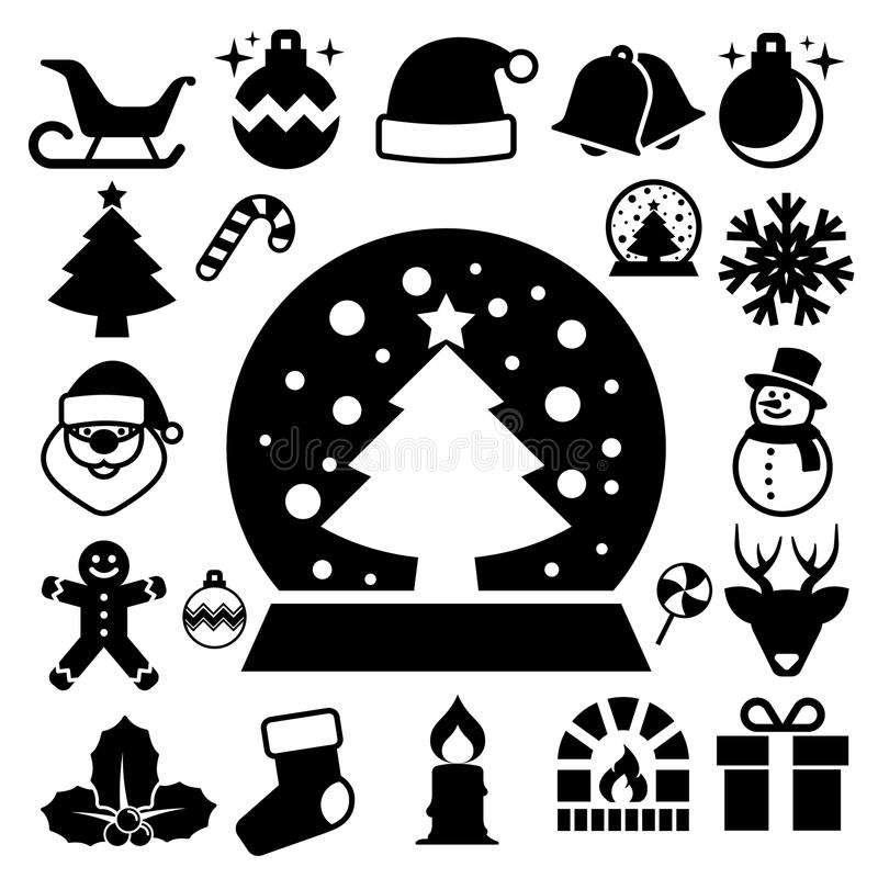 Bożenarodzeniowy ikona set royalty ilustracja