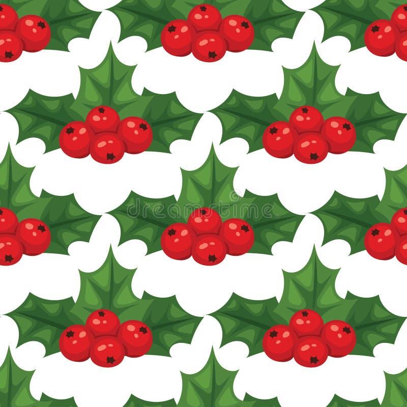 Bożenarodzeniowy jagodowy dekoracyjny liścia holly rozgałęzia się z zim jagod czerwonego bezszwowego deseniowego tła wiecznozielo ilustracja wektor