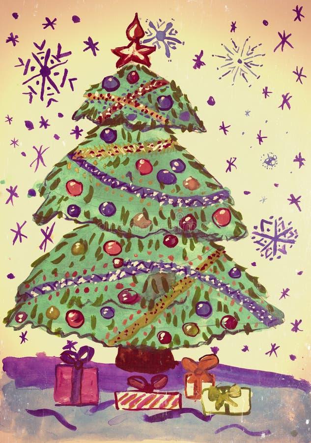 Bożenarodzeniowy jedlinowy drzewo z śniegiem, akwarela obraz na papierze royalty ilustracja