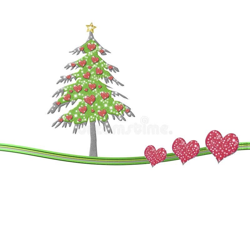 Bożenarodzeniowy jedlinowy drzewo z sercami odizolowywał biel royalty ilustracja