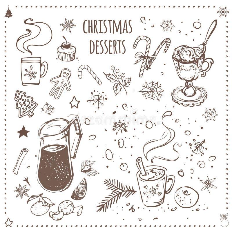Bożenarodzeniowy jedzenie i desery ustawiający patroszone ręk ikony ilustracji