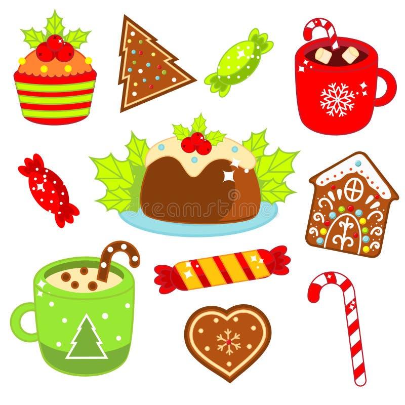 Bożenarodzeniowy jedzenie i napój Piernikowi ciastka, cukierek trzcina, cukierki i inny, Kolorowi majchery, ikony dla nowego roku ilustracja wektor