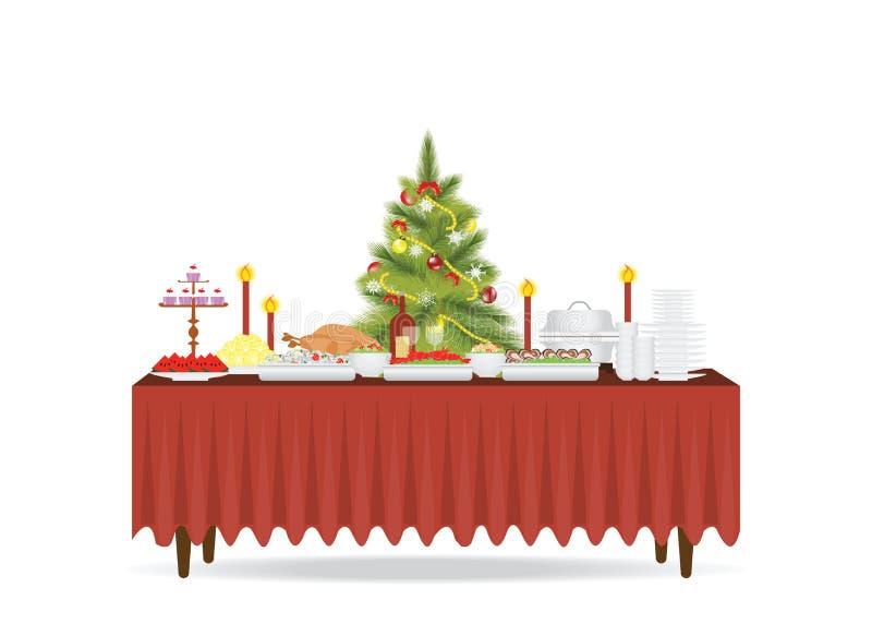 Bożenarodzeniowy jedzenie na stole Dekoruje z choinką ilustracji