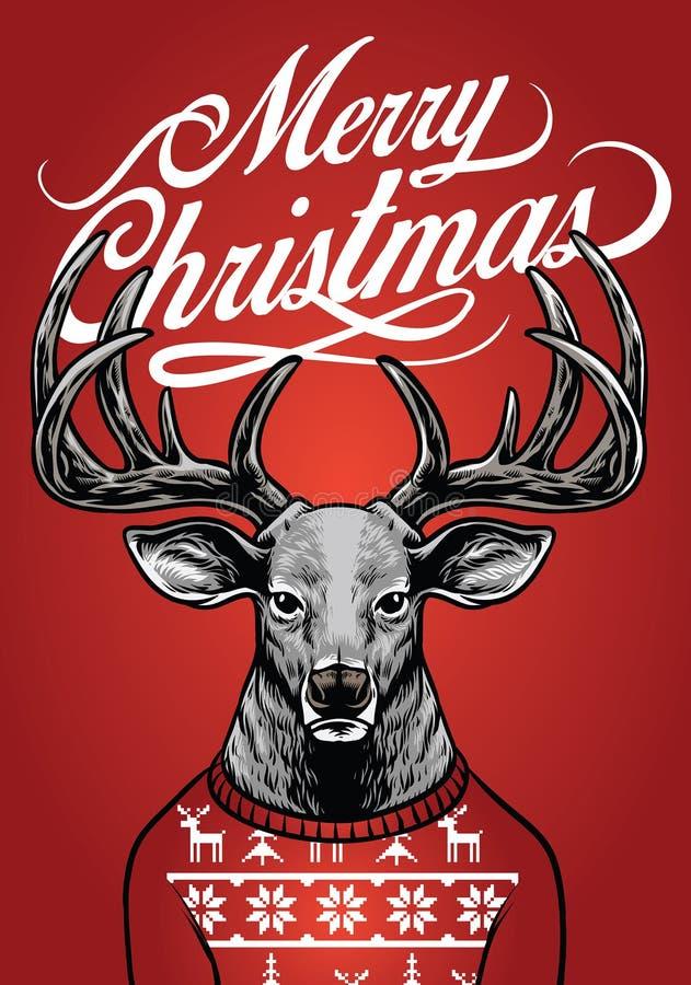 Bożenarodzeniowy jeleni jest ubranym boże narodzenie pulower royalty ilustracja