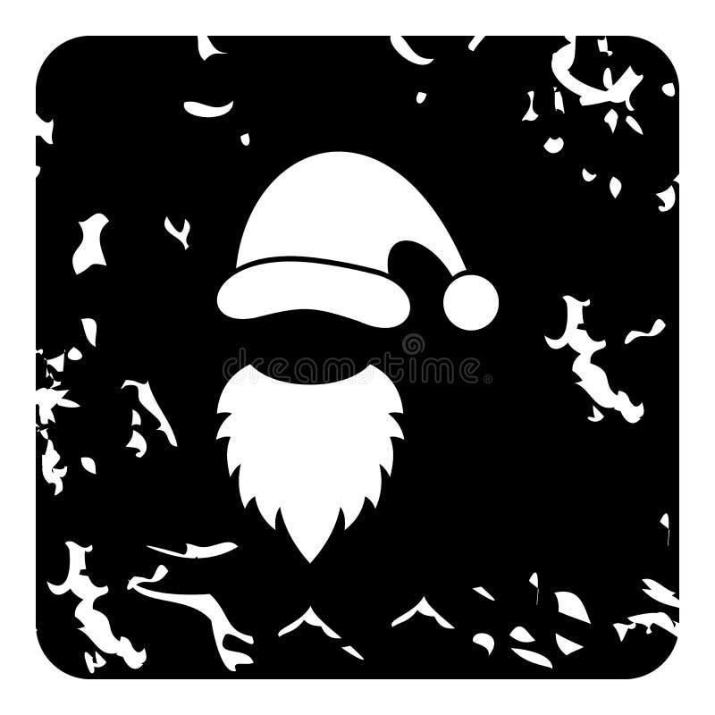 Bożenarodzeniowy kapelusz i biała broda Święty Mikołaj ikona ilustracja wektor
