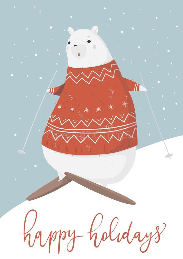 Bożenarodzeniowy kartka z pozdrowieniami z ślicznym niedźwiedziem polarnym royalty ilustracja