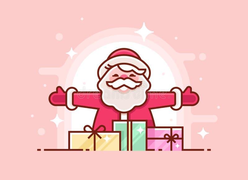 Bożenarodzeniowy kartka z pozdrowieniami z Święty Mikołaj prezentami i ono uśmiecha się Cienieje kreskowego xmas zaproszenie równ ilustracji