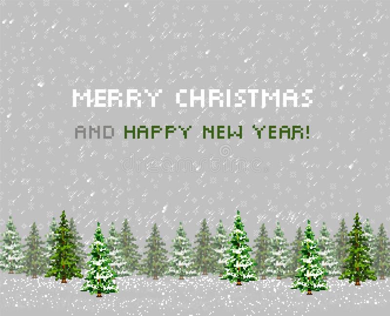 Bożenarodzeniowy kartka z pozdrowieniami drzewo. Pixelart royalty ilustracja