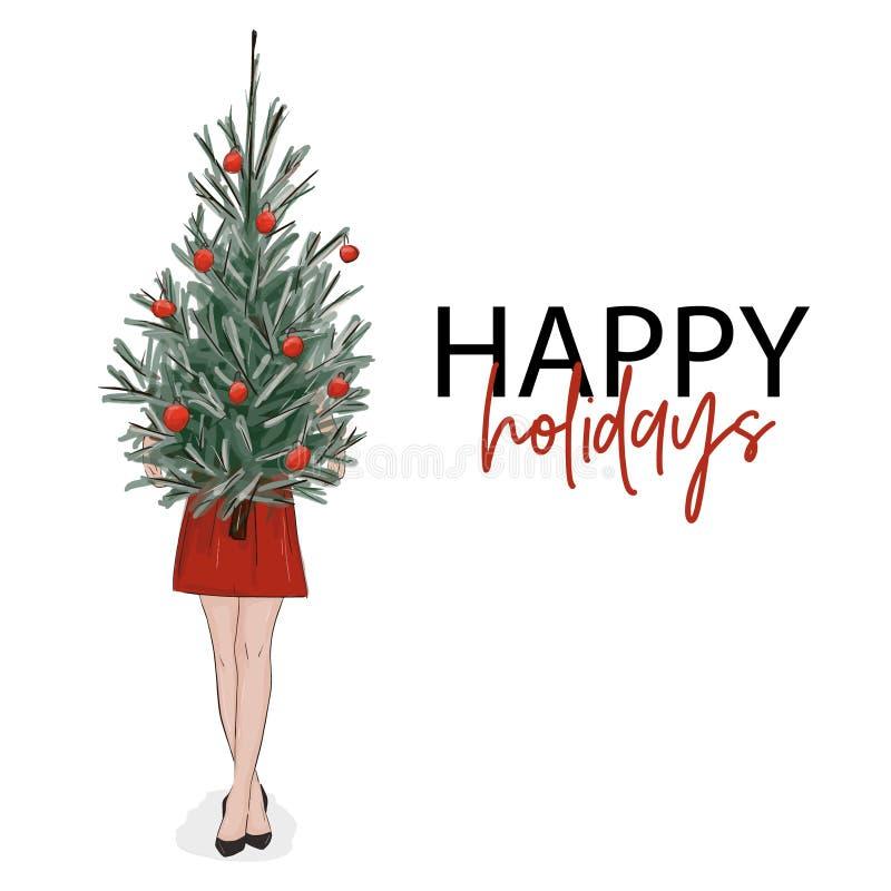 Bożenarodzeniowy kartka z pozdrowieniami: dziewczyna trzyma nowego roku drzewa dekorujący z piłkami Wektorowej kobiety elegancki  ilustracji