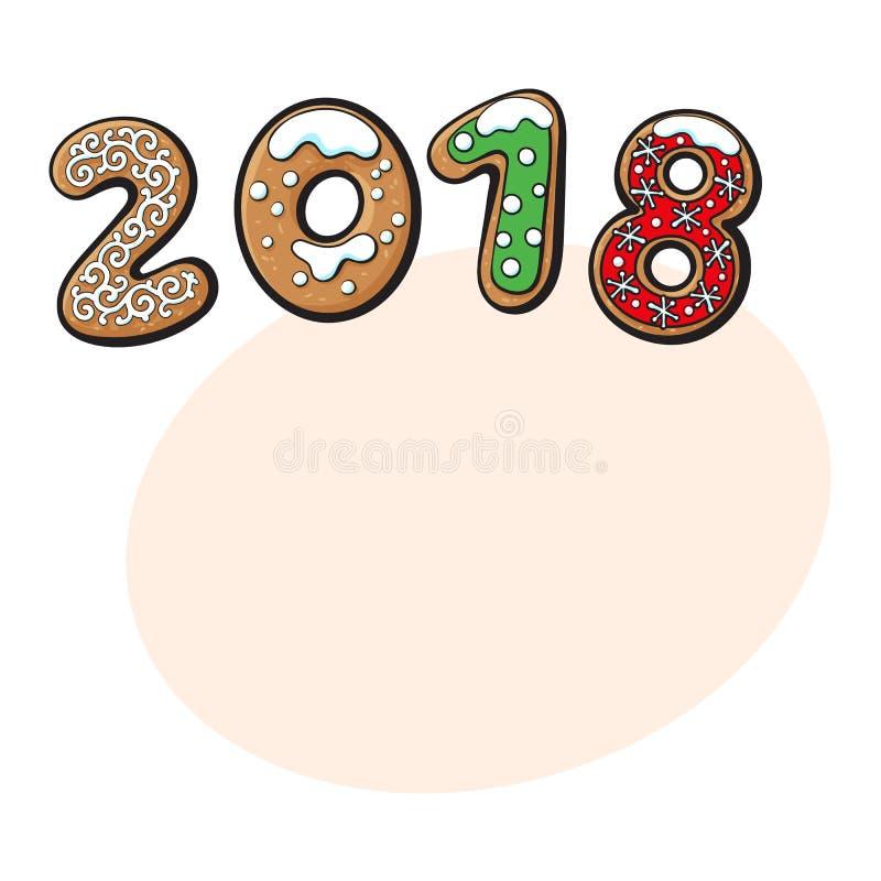 2018 Bożenarodzeniowy kartka z pozdrowieniami, piernikowi ciastka ilustracja wektor
