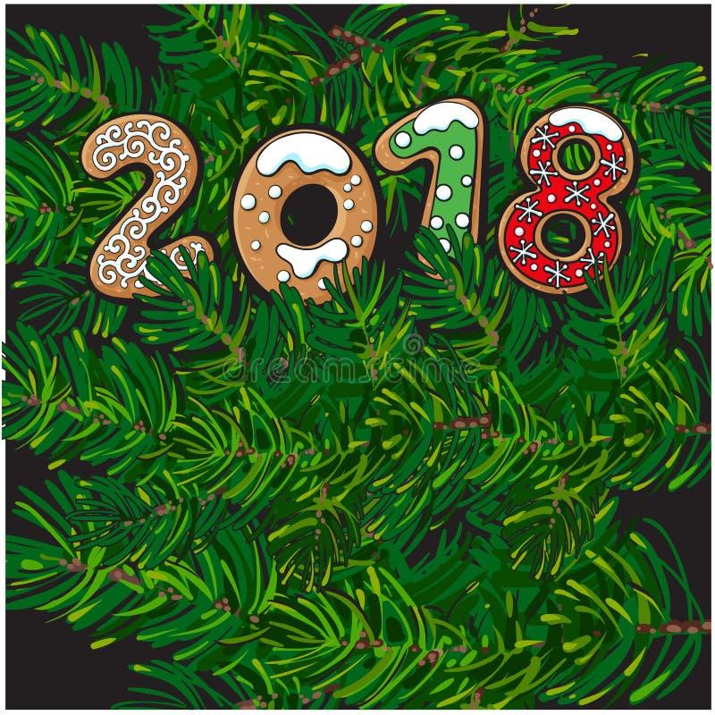 2018 Bożenarodzeniowy kartka z pozdrowieniami, piernikowi ciastka ilustracji