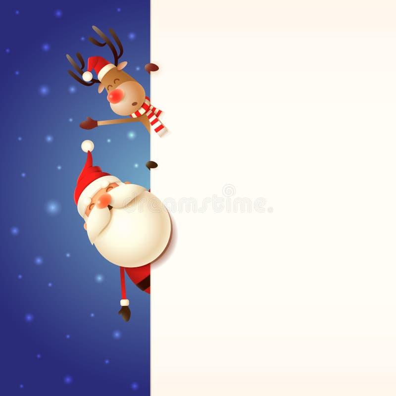 Bożenarodzeniowy kartka z pozdrowieniami szablon Święty Mikołaj i renifera zerkanie za signboard na błękitnym śnieżnym tle royalty ilustracja