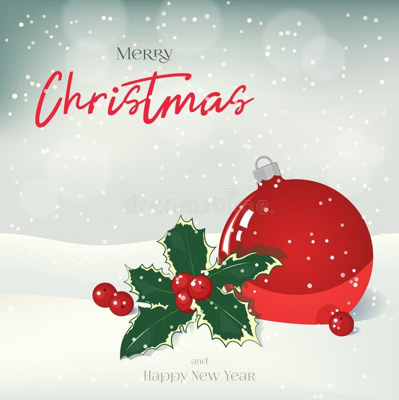 Bożenarodzeniowy kartka z pozdrowieniami, tło, plakat z piłką, holly i jagody w śniegu, alpy objętych domowej sceny zimy małe szw royalty ilustracja