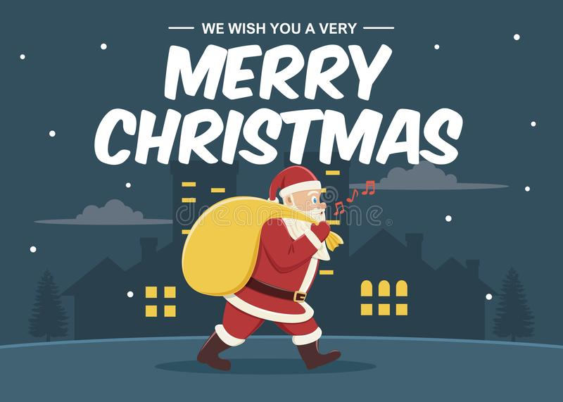 Bożenarodzeniowy kartka z pozdrowieniami tło z Santa Claus niesie jego torbę gifs ilustracja wektor