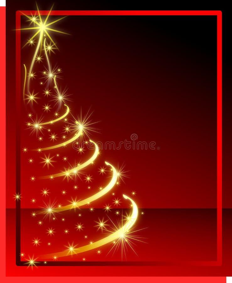 Bożenarodzeniowy kartka z pozdrowieniami z olśniewającym drzewem w czerwieni ilustracja wektor