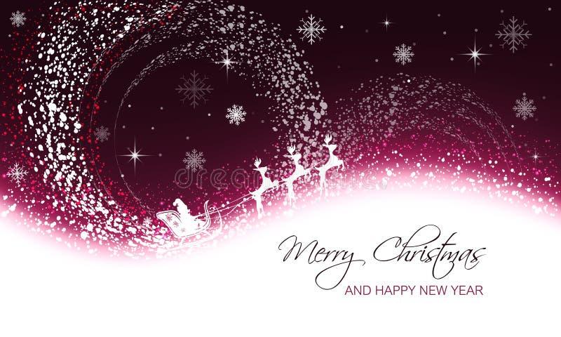 Bożenarodzeniowy kartka z pozdrowieniami z opadem śniegu, płatkami śniegu, gwiazdami i Santa na saniu z reniferem, ilustracji