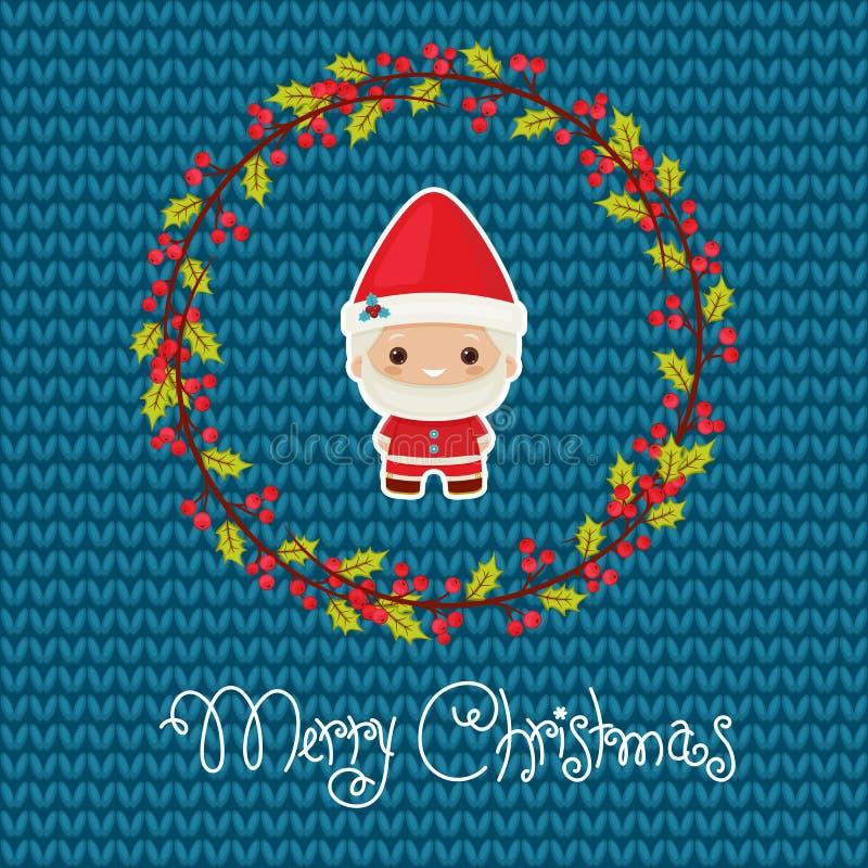 Bożenarodzeniowy kartka z pozdrowieniami z Santa, zima wiankiem t i powitaniem, royalty ilustracja