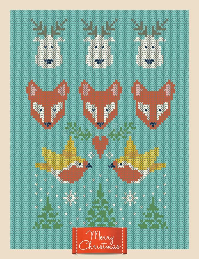 Bożenarodzeniowy kartka z pozdrowieniami z trykotowymi lisami, deers i ptakami, royalty ilustracja