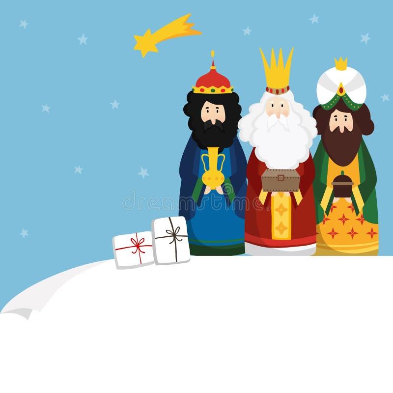 Bożenarodzeniowy kartka z pozdrowieniami, zaproszenie Trzy maga przynosi prezenty i spada gwiazdę Biblijni królewiątka Caspar, Me ilustracja wektor