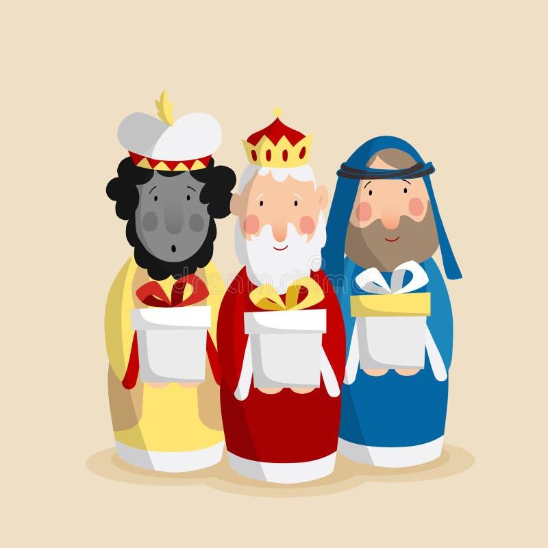Bożenarodzeniowy kartka z pozdrowieniami, zaproszenie z trzy magi royalty ilustracja