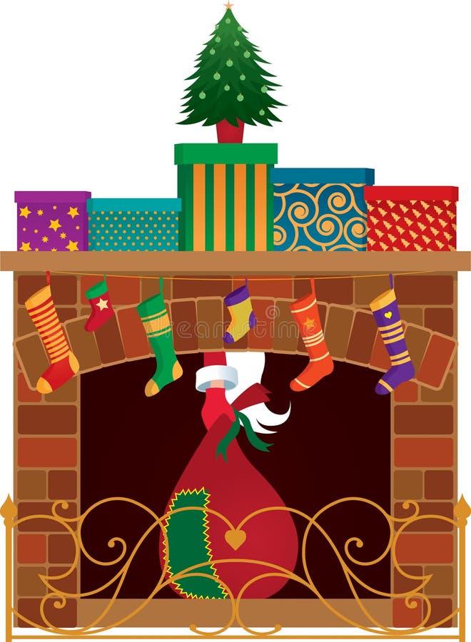 Bożenarodzeniowy kominek ilustracji