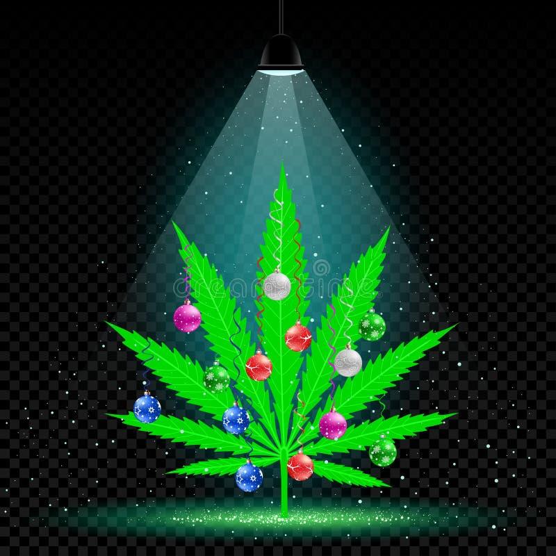 Bożenarodzeniowy konopiany drzewny lampowy śnieg royalty ilustracja