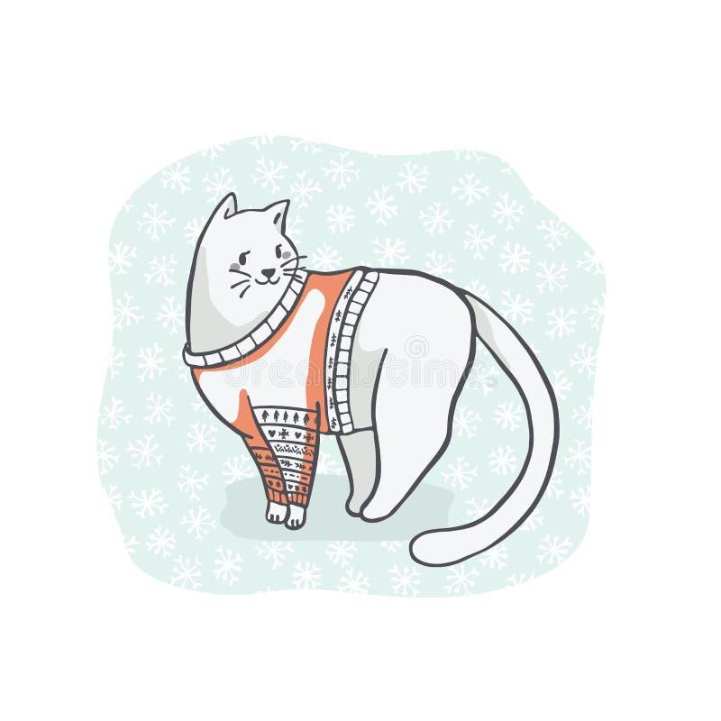 Bożenarodzeniowy kot w Hafciarskim pulowerze Clipart, ręka Rysujący kota kochanek ilustracja wektor