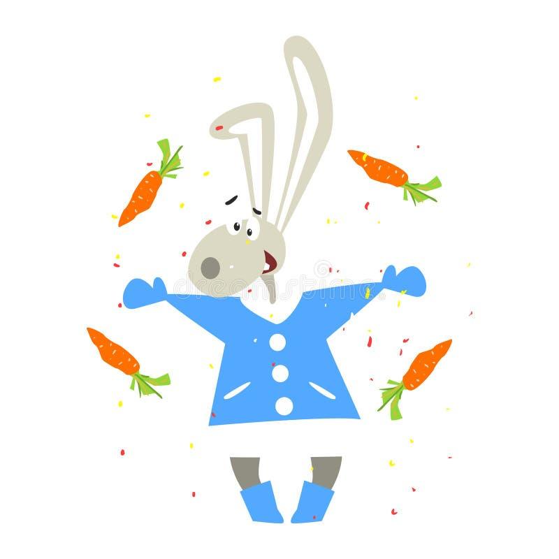 Bożenarodzeniowy królik i Spada marchewki Płaski wektor royalty ilustracja